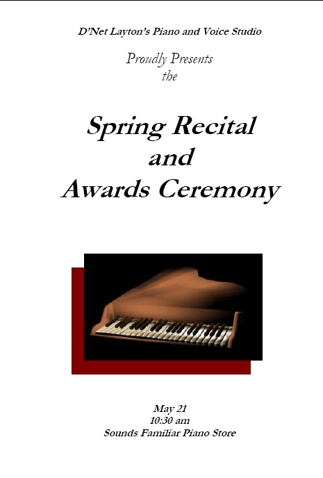Sample Recital Program Template